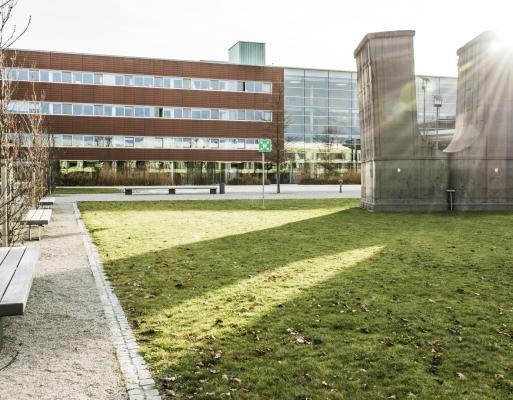 """""""Batterie"""" von Gregor Passens- Gussasphalt Kunstwerk auf dem Gelände des Campus Planegg-Martinsried"""